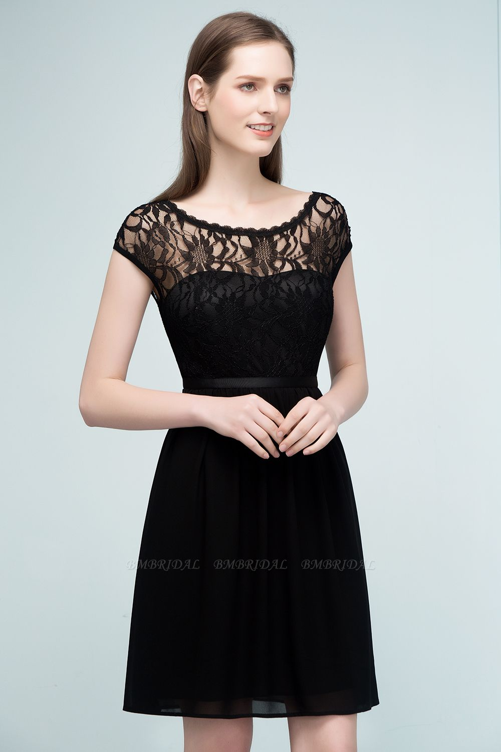 Pretty Scoop Sleeveless Black Lace Short Junior Bridesmaid Dress