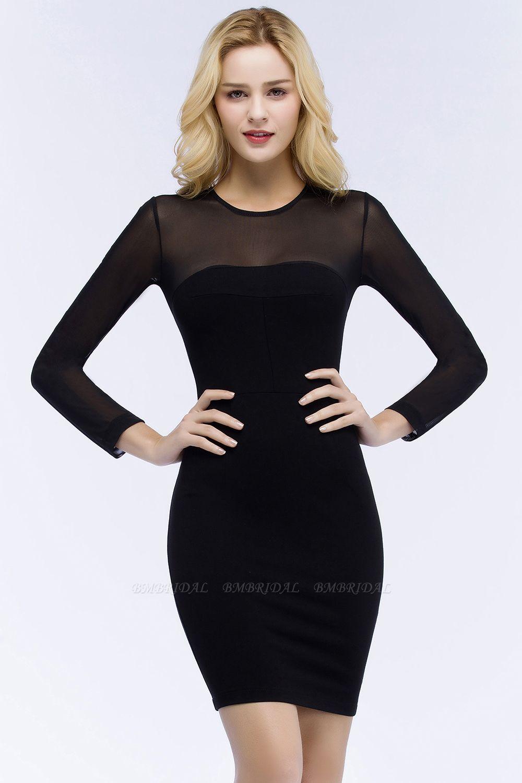 BMbridal Sheath Long Sleeves Sheer Neckline Short Black Homecoming Dress