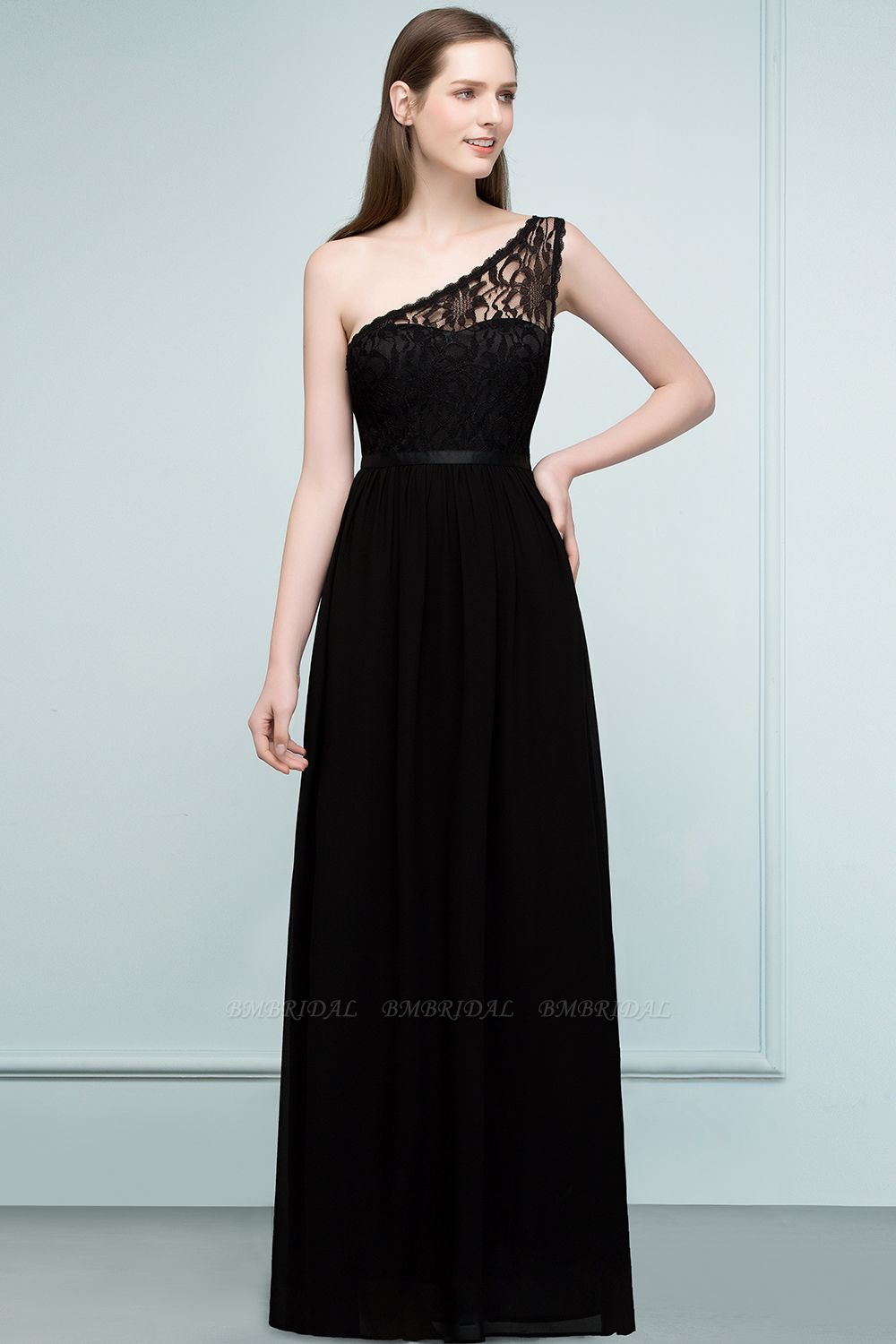 Chic One Shoulder Black Lace Long Bridesmaid Dresses Online In Stock