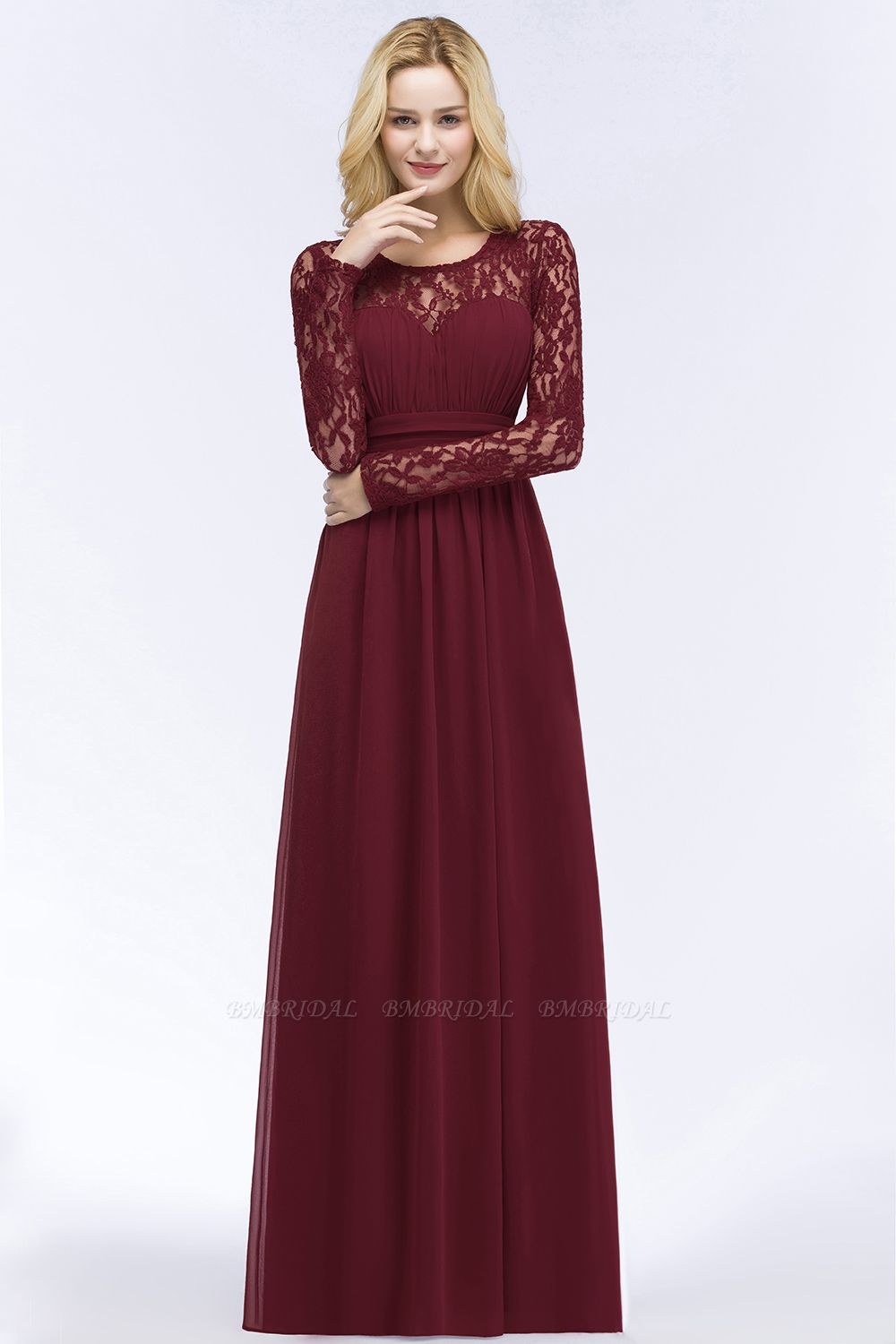 BMbridal A-line Floor Length Long Sleeves Lace Chiffon Bridesmaid Dress