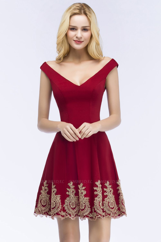 BMbridal A-line V-neck Short Off-shoulder Appliques Burgundy Homecoming Dress Online