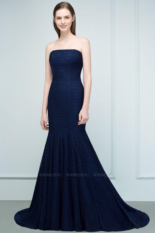 BMbridal Elegant Navy Strapless Lace Mermaid Evening Prom Dress Long Online