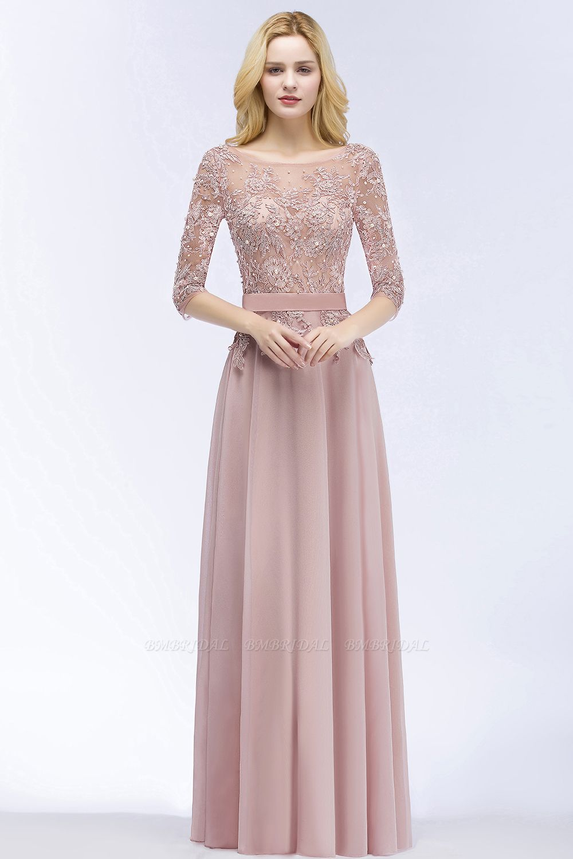 Elegant Scoop Half-Sleeves Lace Dusty Rose Bridesmaid Dress With Pearls