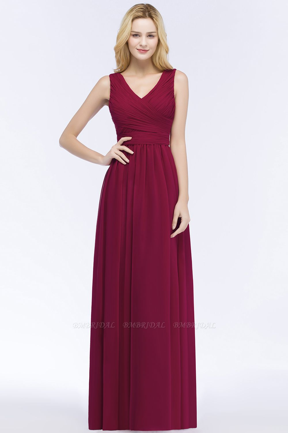 Vintage Sleeveless Pleated Burgundy Chiffon Bridesmaid Dresses Cheap
