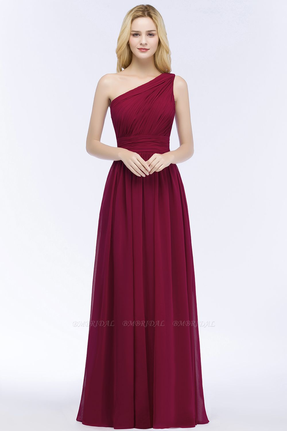Chic One-shoulder Sleeveless Burgundy Chiffon Bridesmaid Dresses Online