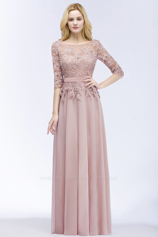 BMbridal A-line Floor Length Half Sleeves Appliques Bridesmaid Dress with Sash