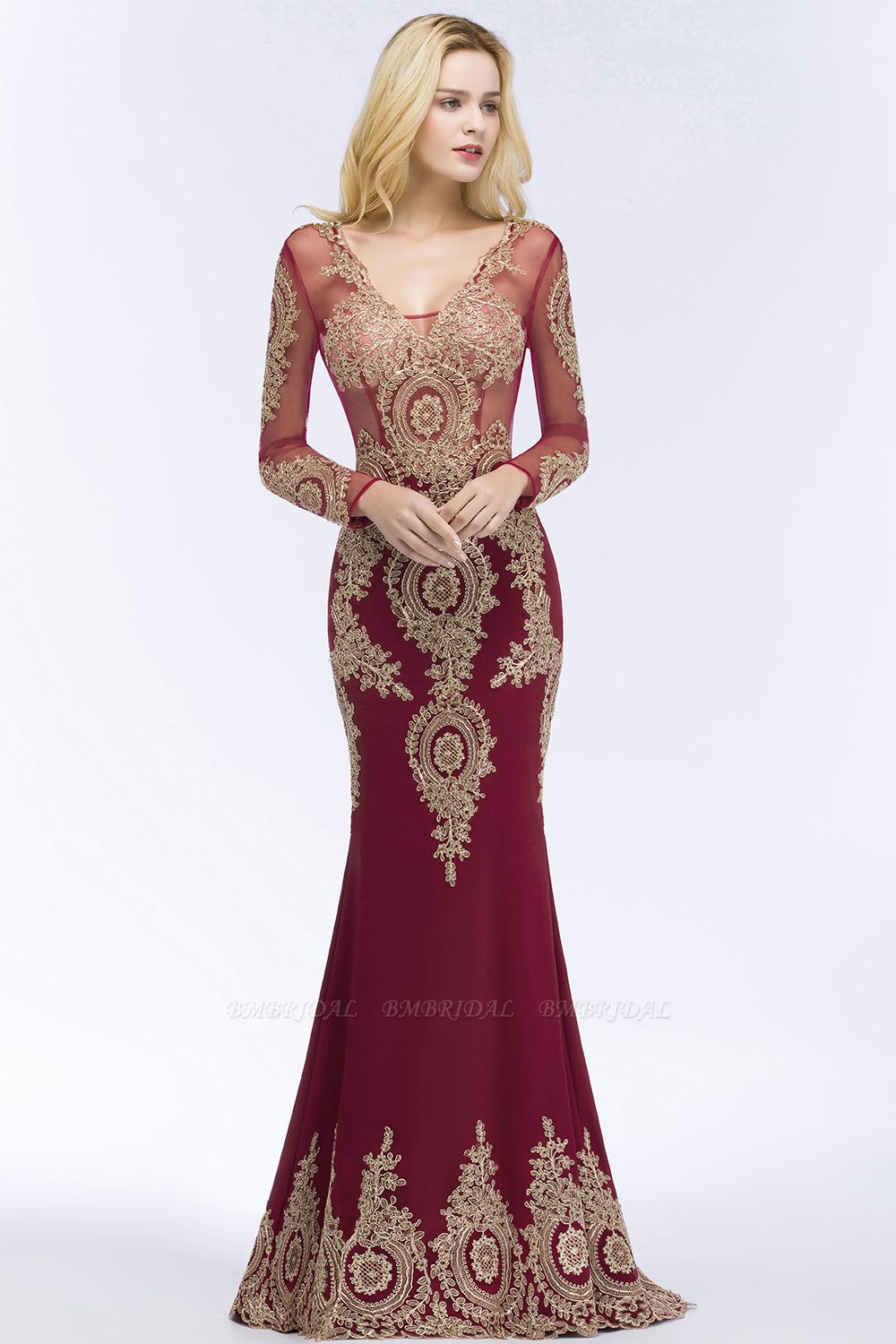BMbridal Glamorous Long Sleeve Mermaid Prom Dress Long Evening Party Gowns With Lace Appliques