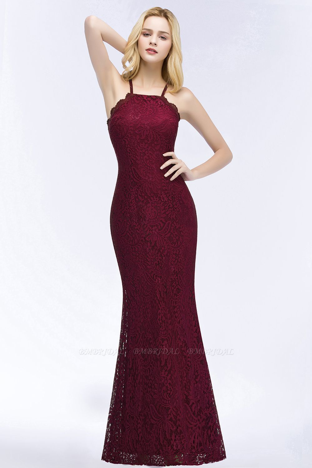 Sexy Mermaid Lace Long Burgundy Bridesmaid Dresses with Crisscross Back