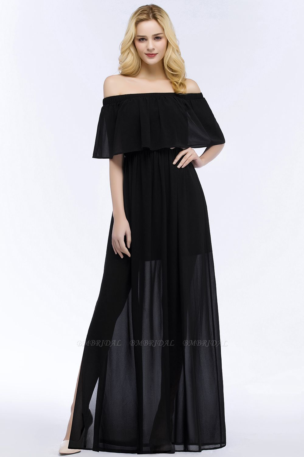 BMbridal Affordable Black Off-the-shoulder Long Chiffon Bridesmaid Dress Online