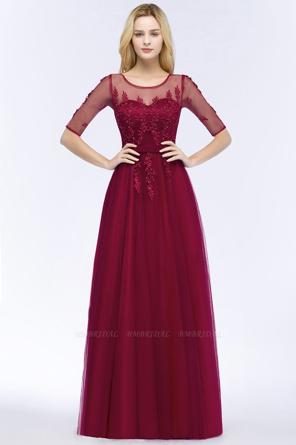 BMbridal A-line Floor Length Appliques Tulle Bridesmaid Dress with Sleeves