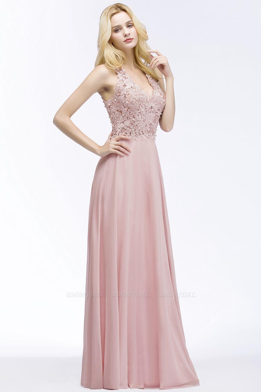 BMbridal A-line V-neck Sleeveless Long Appliques Chiffon Bridesmaid Dress