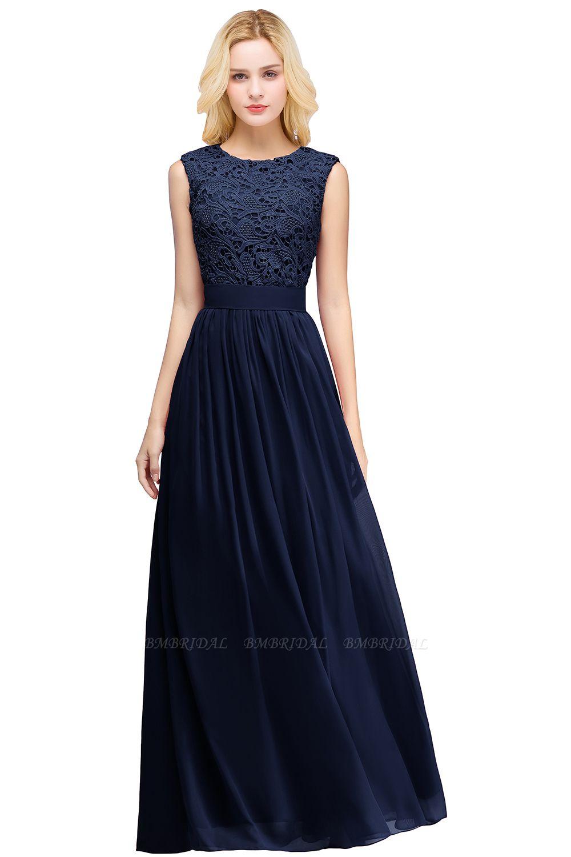 BMbridal Elegant Sheath Crew Sleeveless Lace Top Chiffon Bridesmaid Dress