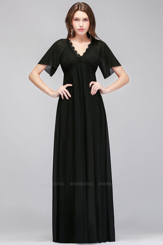 BMbridal A-line V-neck Short Sleeves Long Black Chiffon Bridesmaid Dress