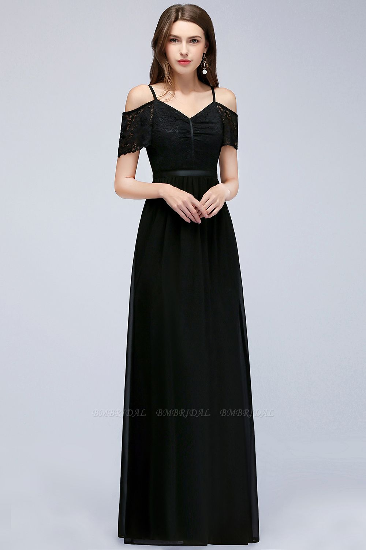 Affordable Off-the-shoulder Black Lace Bridesmaid Dress Online