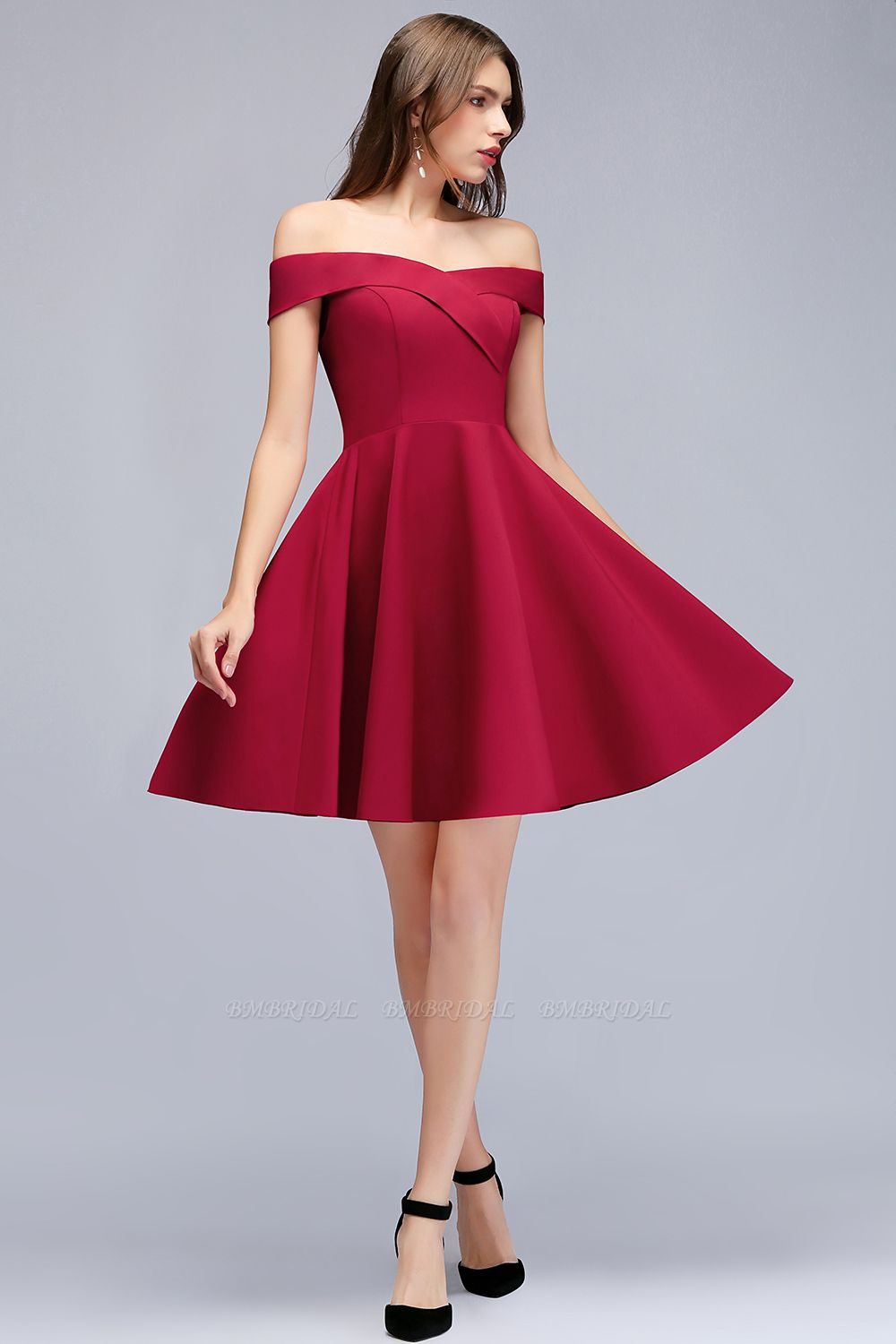 BMbridal A-line Off-the-shoulder Short Burgundy Homecoming Dress