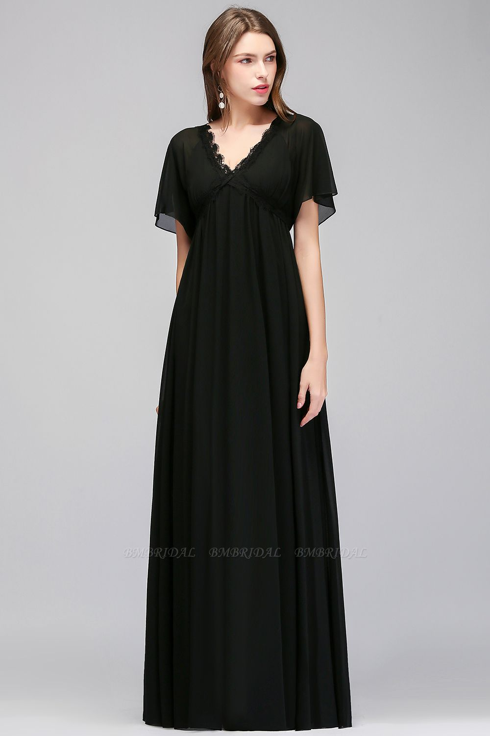 BMbridal Affordable Chiffon Black V-Neck Bridesmaid Dresses with Short-Sleeves