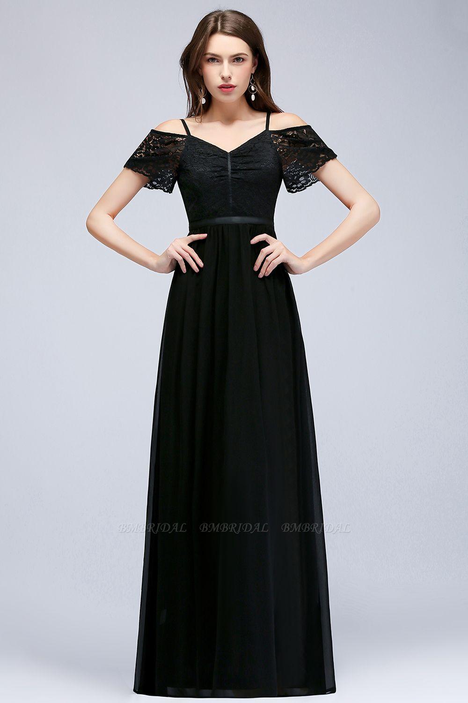 BMbridal A-line Long Spaghetti V-neck Black Lace Chiffon Bridesmaid Dress