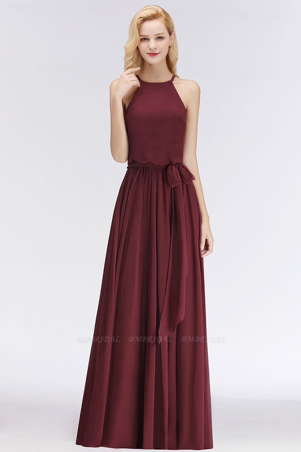 BMbridal Affordable Halter Bow Long Bridesmaid Dress Modest Burgundy Chiffon Wedding Party Dress