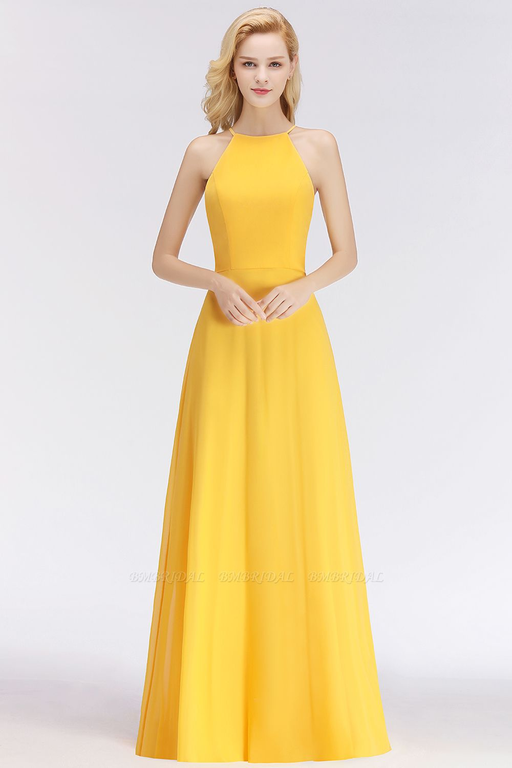 Modest High-Neck Yellow Chiffon Affordable Bridesmaid Dresses Online