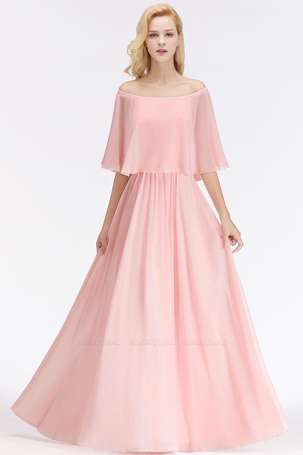 Affordable Flounced Crinkle Halter Bridesmaid Dresses Modest Pink Chiffon Wedding Party Dress