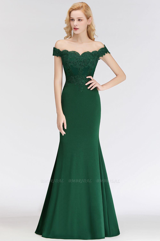 BMbridal Mermaid Off-the-shoulder Long Appliques Satin Bridesmaid Dress