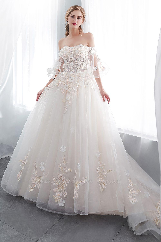 BMbridal Off-the-shoulder Appliques Ball Gown Wedding Dress Online