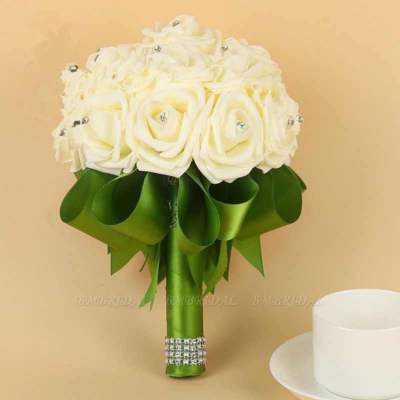 BMbridal Ivory Silk Beading Rose Bouquet with Colorful Ribbons