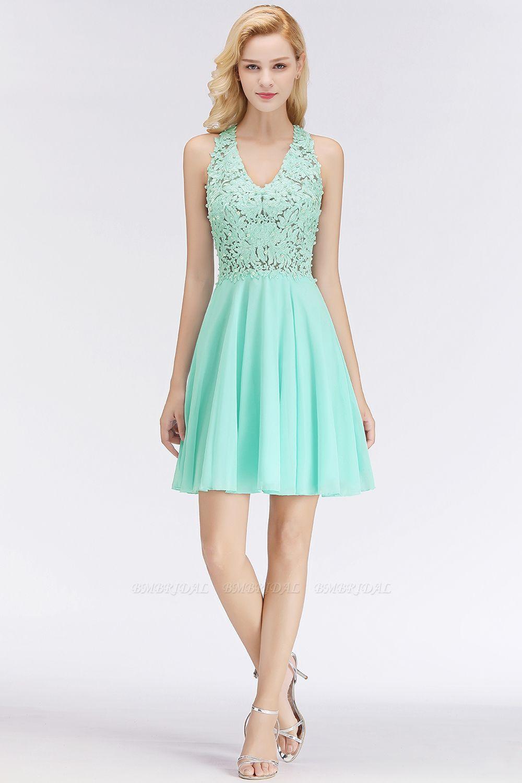 BMbridal A-line V-neck Sleeveless Short Appliques Chiffon Homecoming Dress