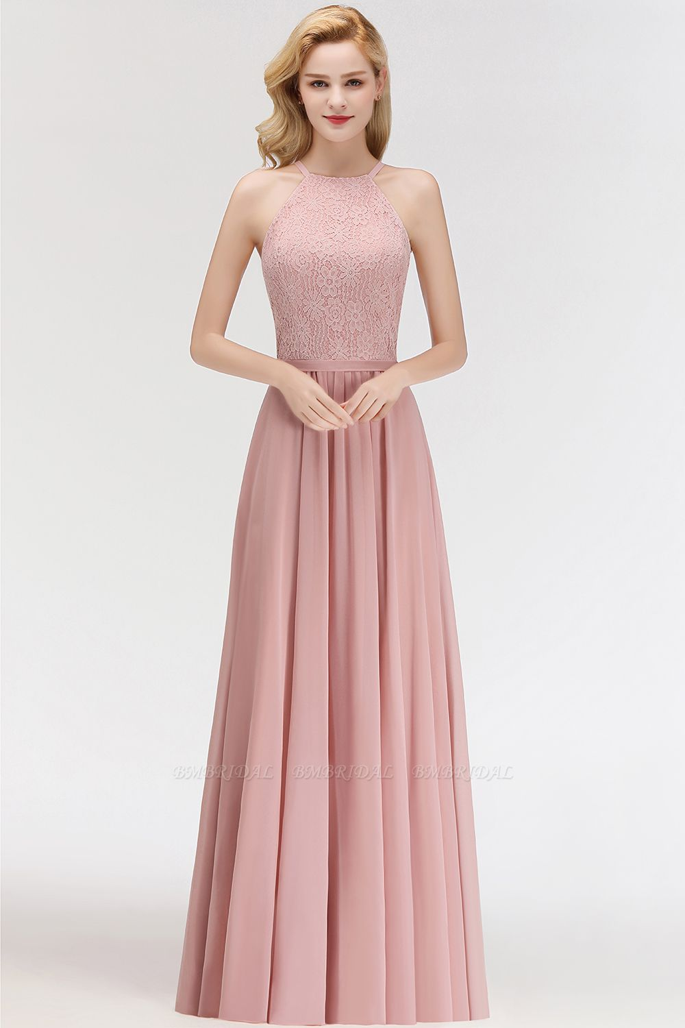 Gorgeous High-Neck Halter Lace Affordable Bridesmaid Dress with Ruffle