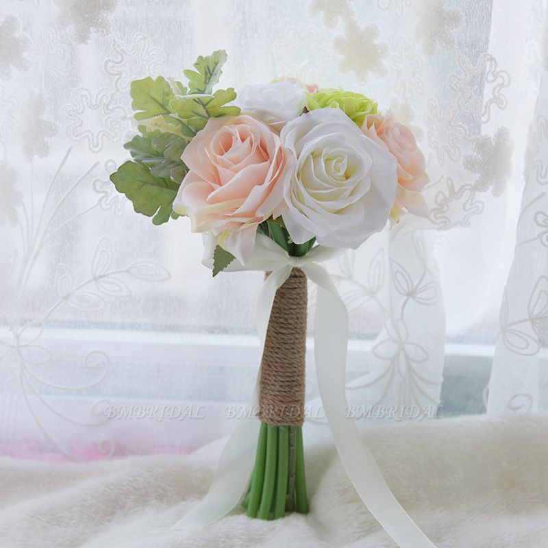 BMbridal Real Touch Artificial Peony and Rose Wedding Bouquet