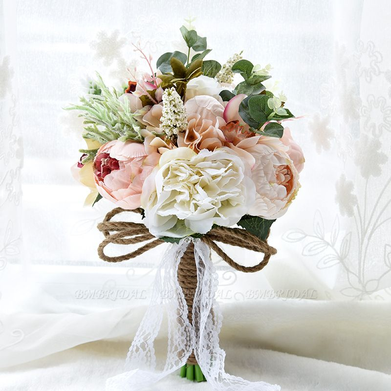 BMbridal Real Touch Colorful Artifial Roses Wedding Bouquet
