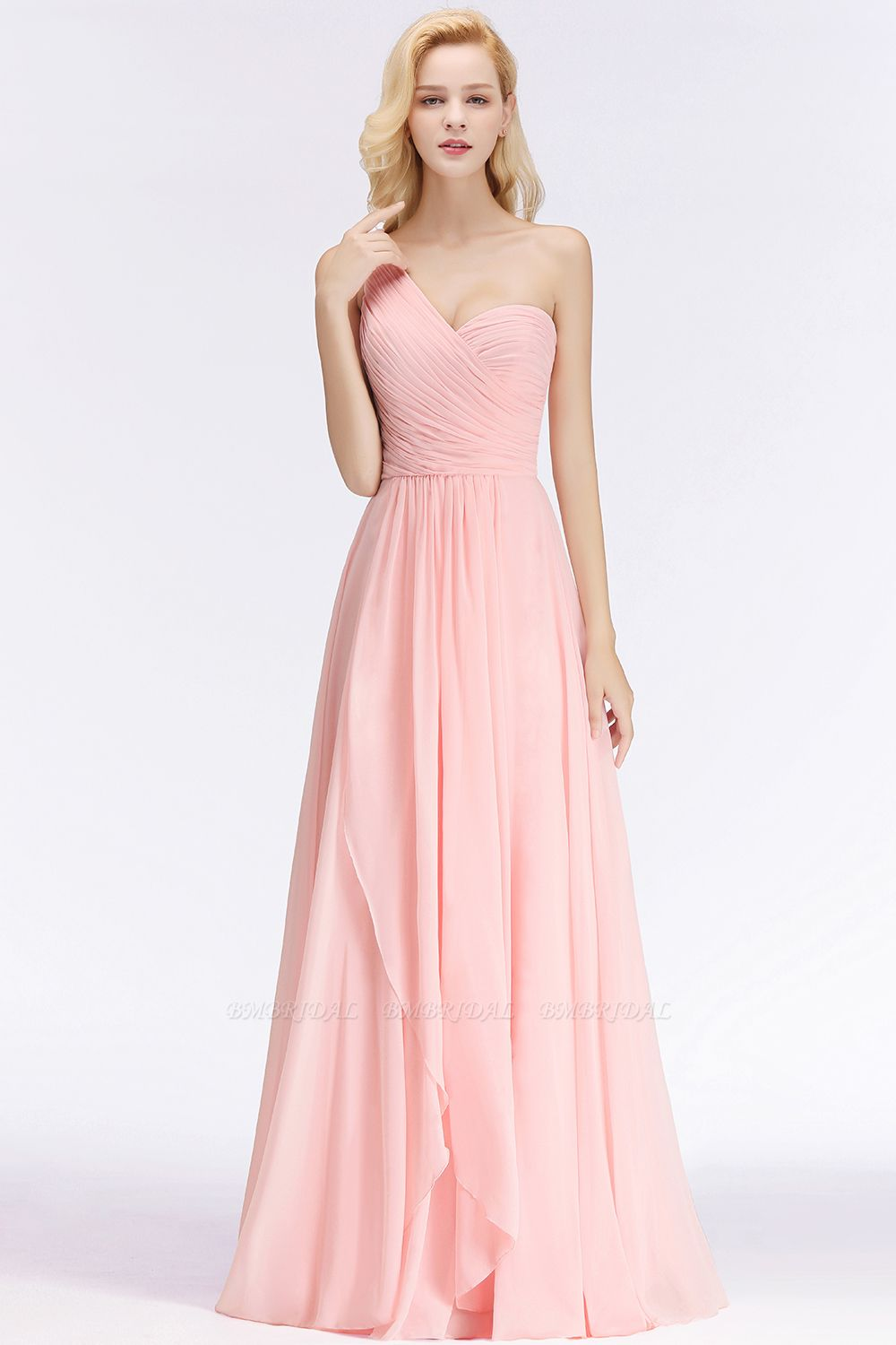 Chic One-shoulder Ruffle Sleeveless Bridesmaid Dress Cheap Online