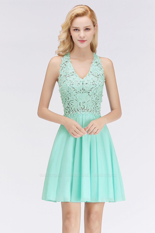 Affordable V-Neck Short Lace Birdesmaid Dresses Online