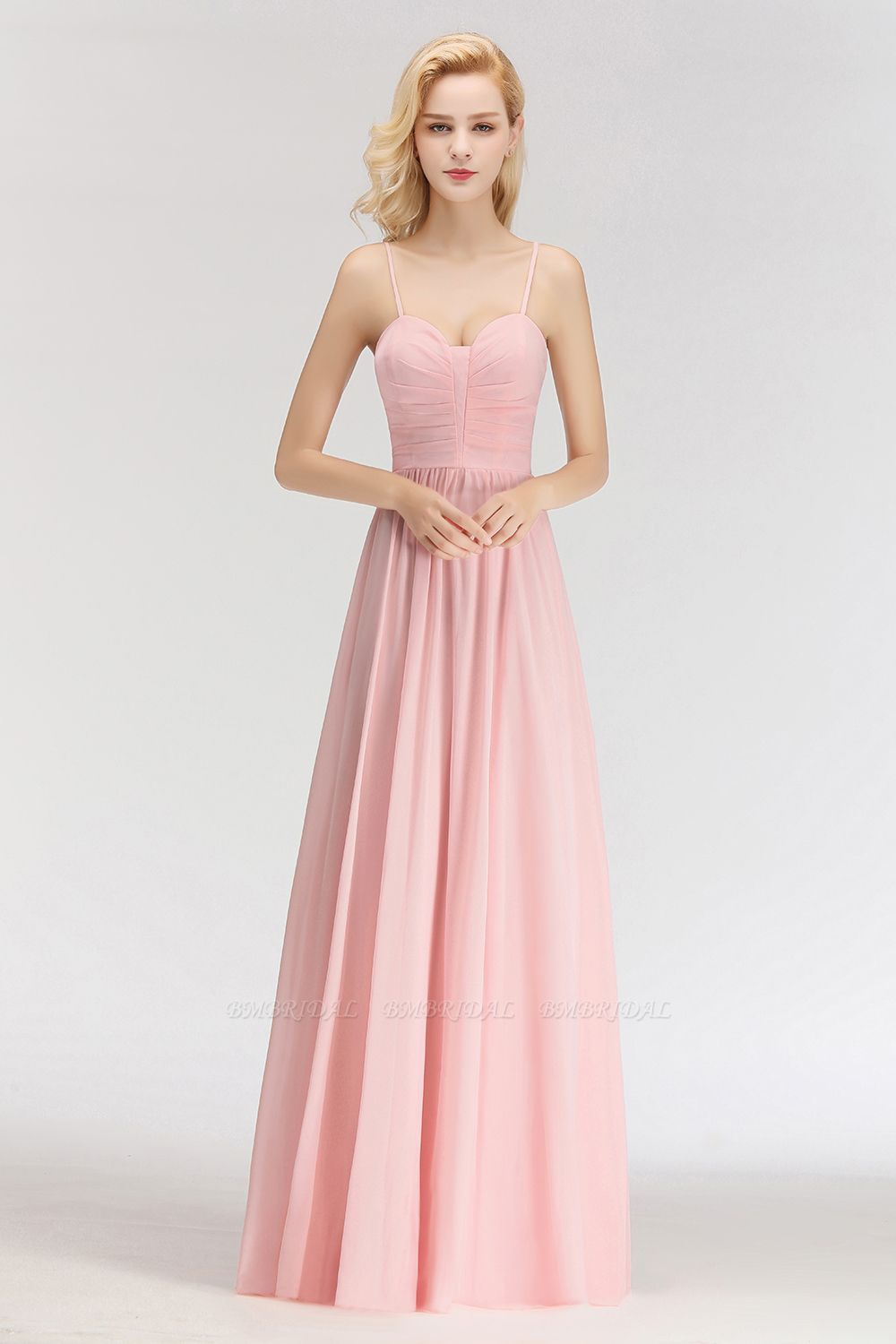 BMbridal Chiffon Spaghetti-Straps Sleeveless Affordable Bridesmaid Dress Online