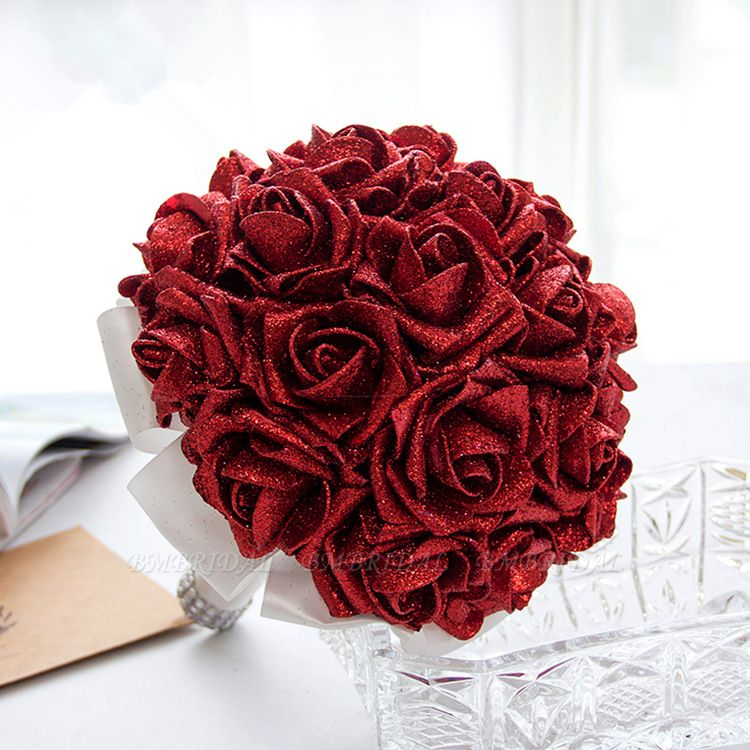 BMbridal Sparkle Multiple Colors Rose Wedding Bouquet
