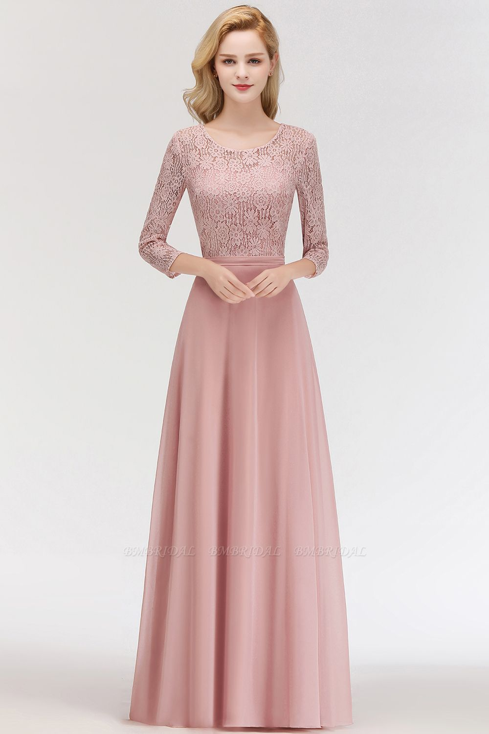 BMbridal Elegant 3/4 Sleeves Lace Long Dusty Rose Bridesmaid Dresses Online