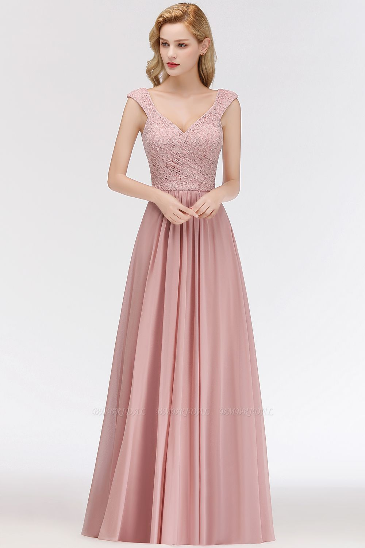 BMbridal Elegant Lace Sweetheart Bridesmaid Dress Online Dusty Rose Chiffon Wedding Party Dress