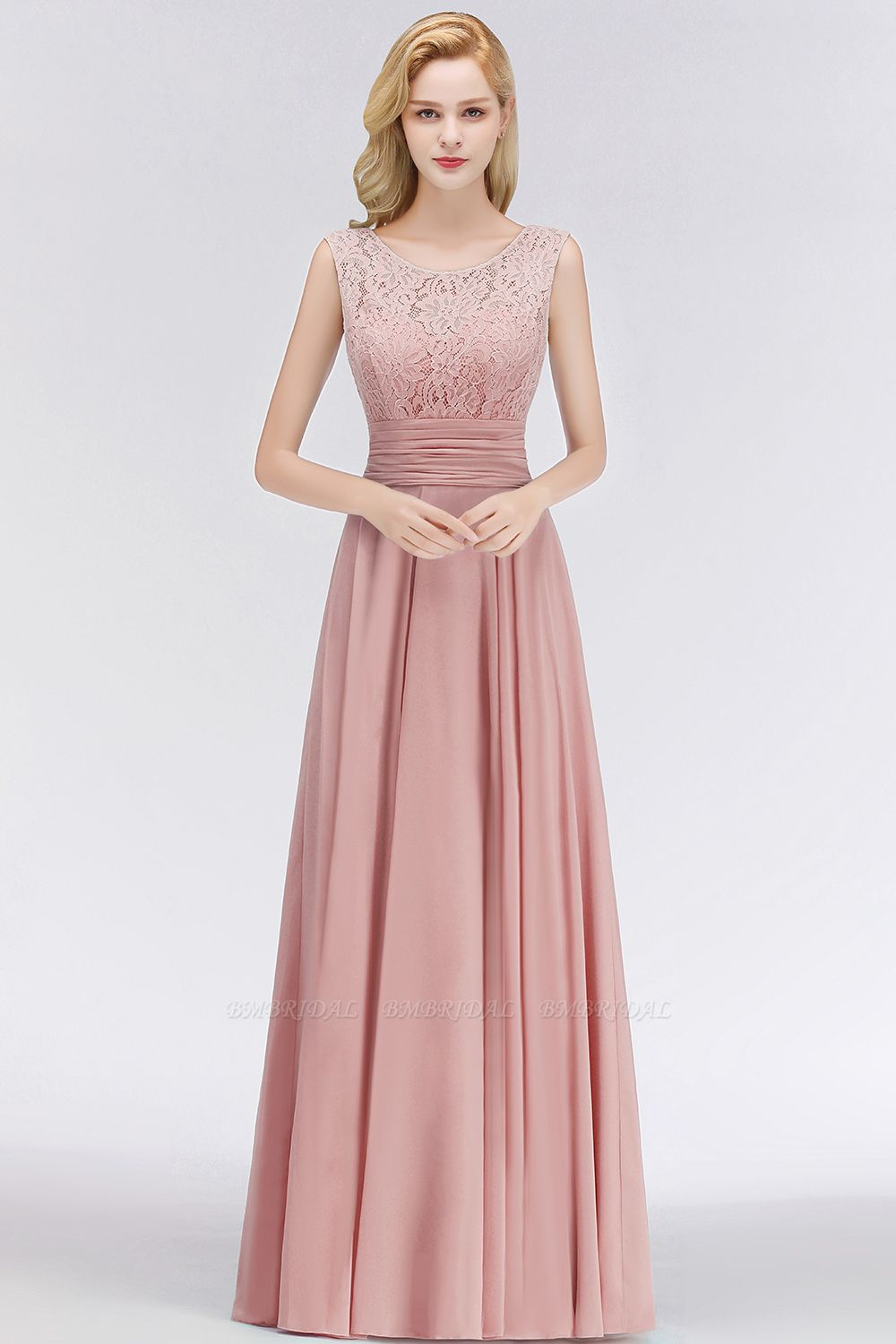 BMbridal Elegant Lace Jewel Sleeveless Dusty Rose Bridesmaid Dress Online