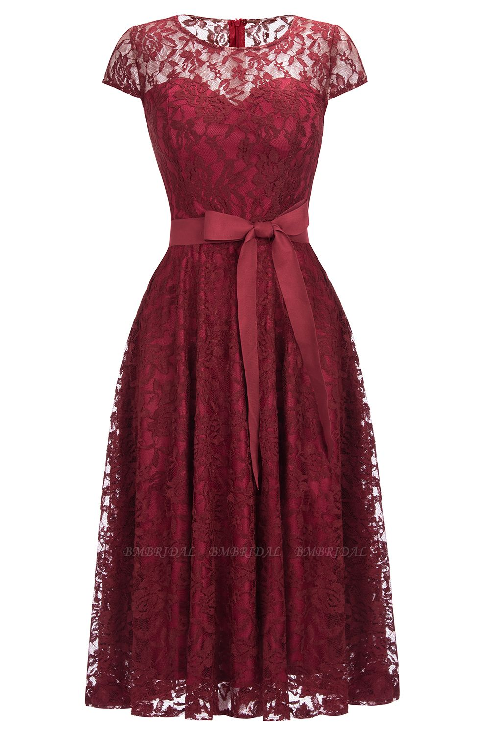 BMbridal Burgundy Lace Short Sleeves A-line Dress with Bow