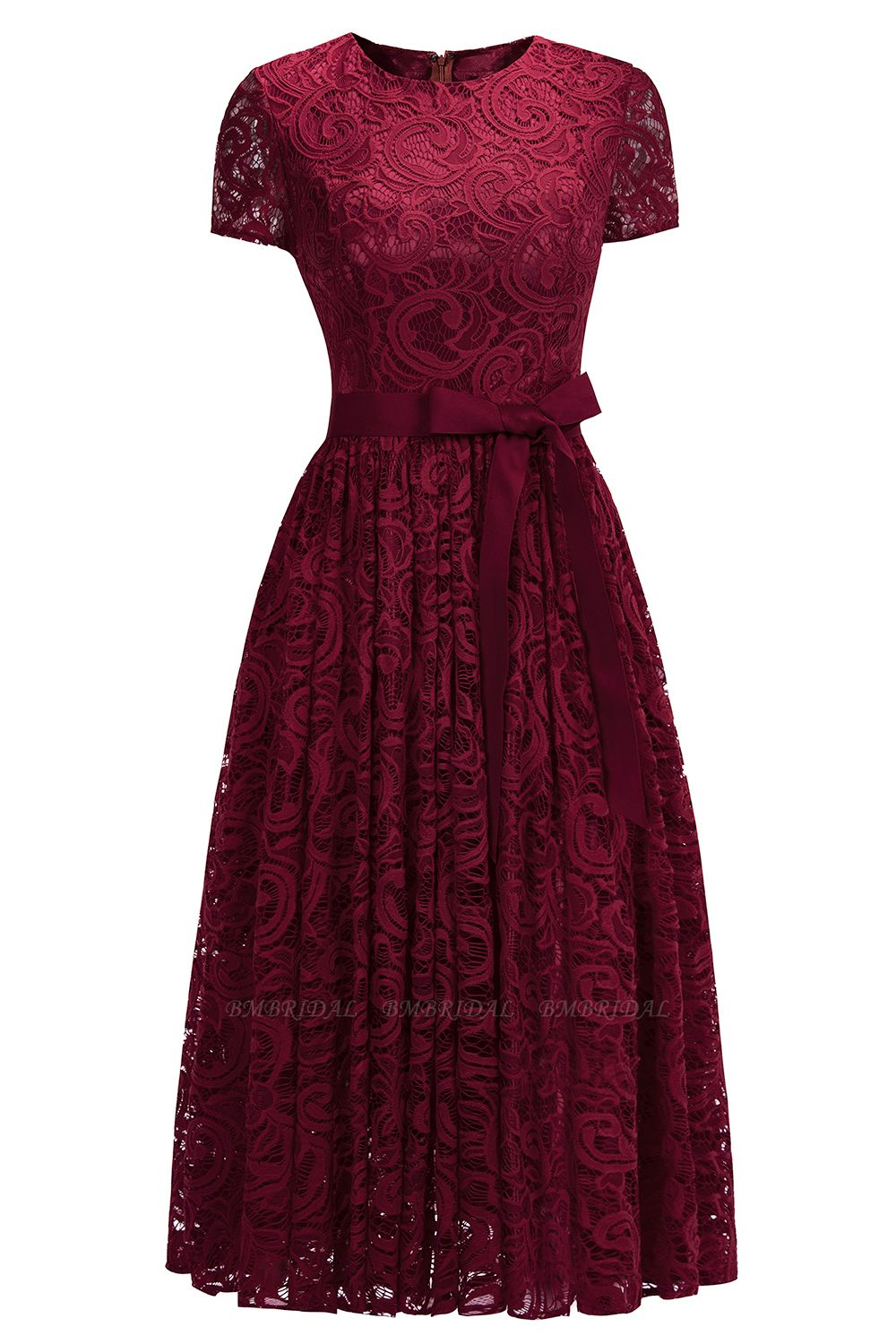 BMbridal Short Sleeves Seath Red Lace Dress with Ribbon Bow