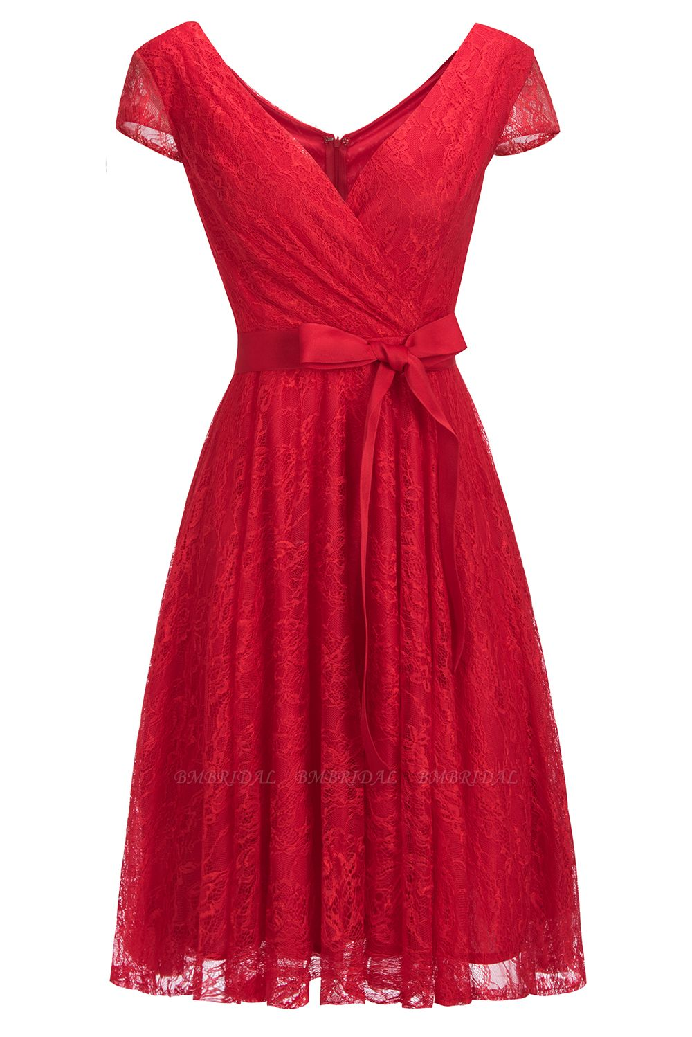 BMbridal A-line Shoet Sleeves V-neck Lace Dress with Bow Sash