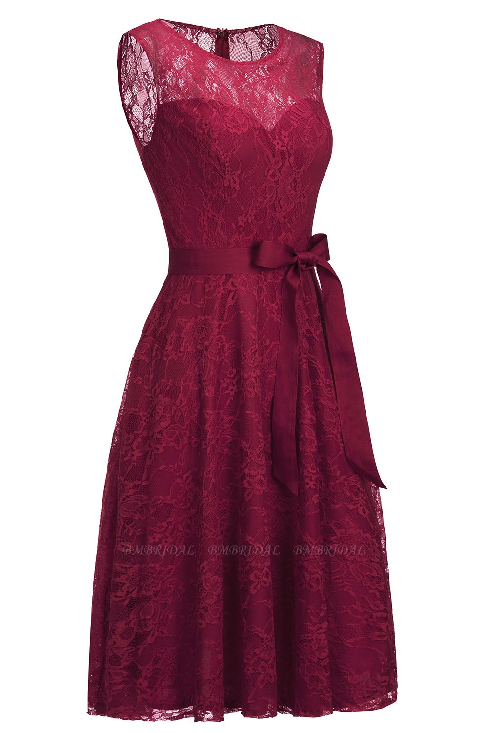 BMbridal A-line Sleeveless Burgundy Lace Dress with Bow