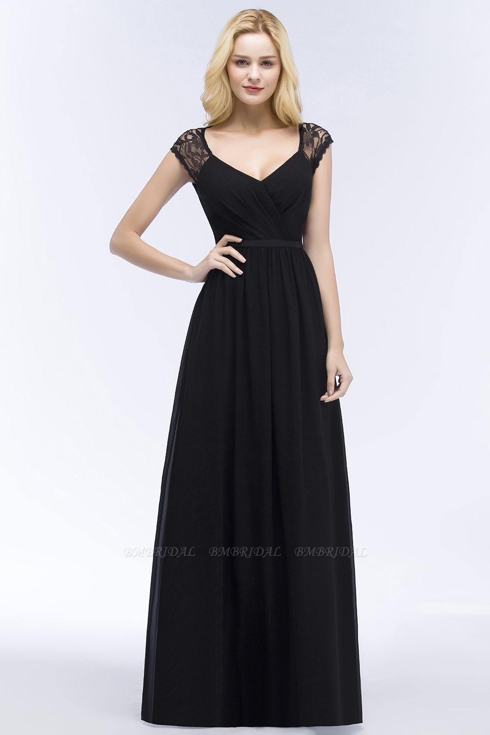 Elegant Lace Black V-Neck Sleeveless Bridesmaid Dress with Hollowout Back