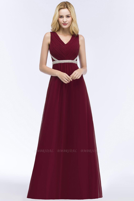 BMbridal Chiffon Burgundy Long Affordable Bridesmaid Dress With Beading Sash