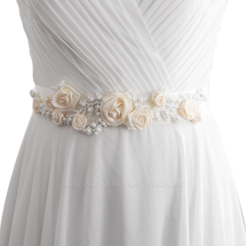 Elegant Satin Flowers Wedding Sash with Beadings
