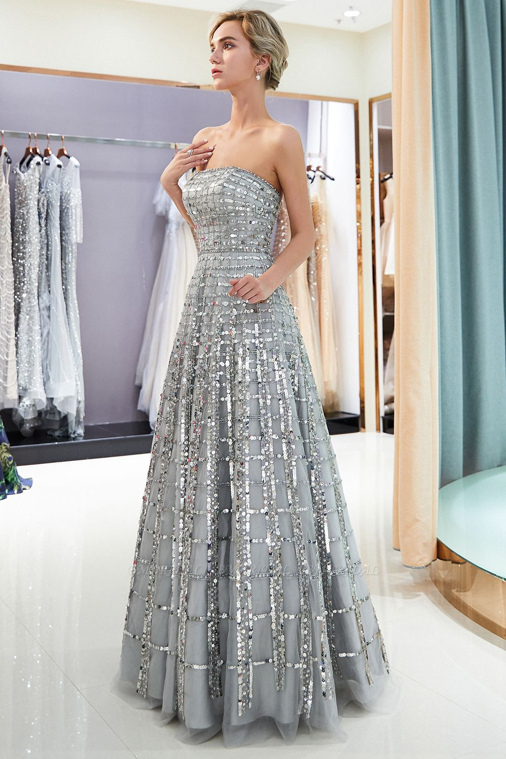 Chic A-line Strapless Sequined Prom Dresses Chiffon Long Party Dresses On Sale