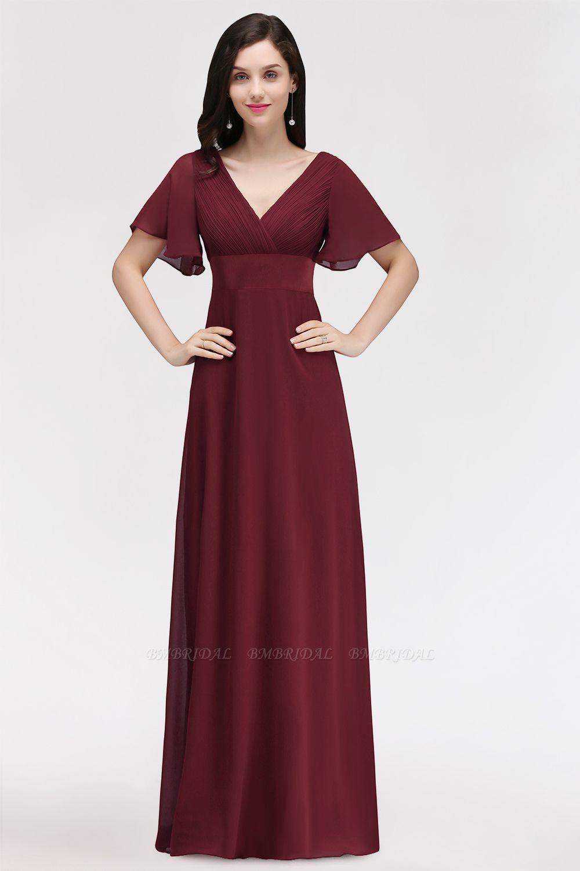 Affordable V-Neck Ruffle Long Burgundy Bridesmaid Dress With Short-Sleeves