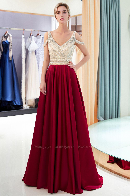 BMbridal Elegant V-neck Sleeveless Burgundy Prom Dresses A-line Crystal Beading Evening Dresses On Sale