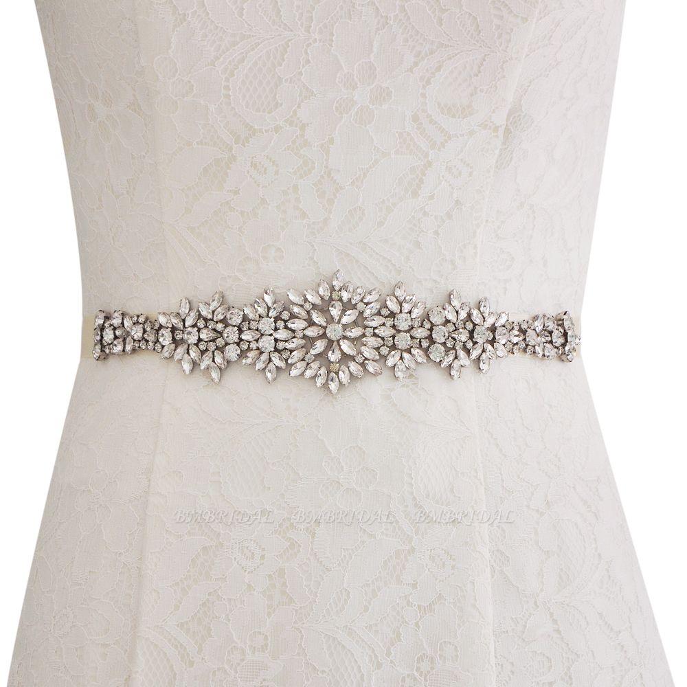 Satin Crystal Wedding Sash with Rhinestone