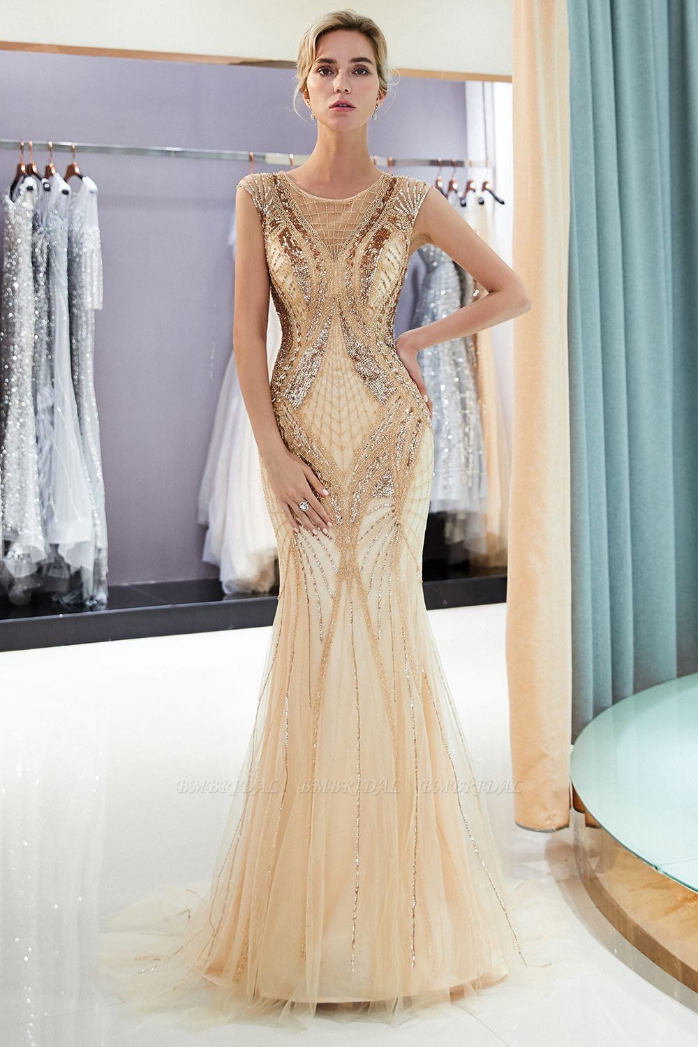 Affordable Mermaid Sleeveless Golden Sequins Beading Formal Party Dresses